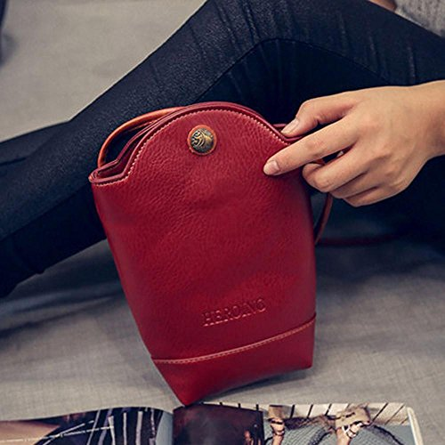 Cover Shoulder Satchel CieKen Vintage Bags Crossbody for Slim Bags Body Leather Small Women PU Red vHFq0