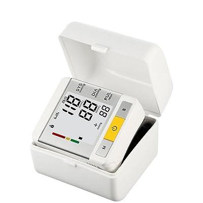 AIMS@ Moniteur de pression artérielle automatique complet Moniteur de manche de poignet Mesure de la fréquence cardiaque avec une grande opération à cristaux liquides à un bouton 2x99 M&eacu