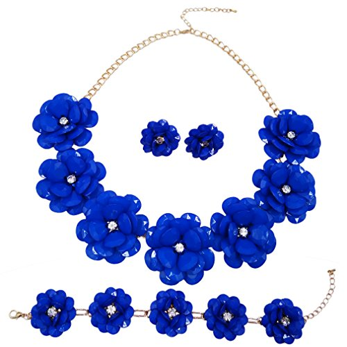 (laanc 7 Flower Bridal Wedding Jewelry Set Resin Beads Stone Pearl Floral Vine Design Necklace (Royal Blue))