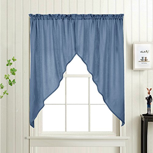 Privacy Sheer Window Swags, Casual Weave Textured Swag Valance for Kitchen Living Room (Pack of Two, 72'W x 63'L, Blue)