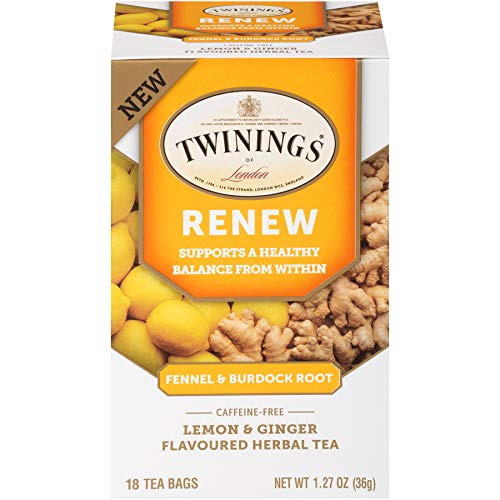 (Twinings of London Daily Wellness Tea, Renew Healthy Balancing Fennel & Burdock Root, Lemon & Ginger, Flavored Herbal Tea, 18 Count (Pack of 6))