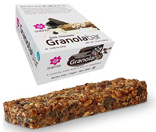 Sheffa Granola Bars Dark Chocolate 0.85 Oz (Pack Of 16) Healthy Crunchy Kind Of Snack Kosher Gluten Free Vegan Low Sodium, Calorie, Carbs for Weight Wacthers Coffee Cereal Breakfast Work Diabetics