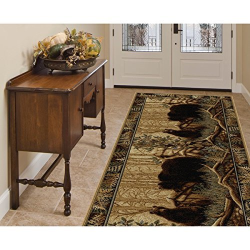 OTSK 2'7'' x7'3 Beige Brown Bear Wildlife Printed Runner Rug, Hunting Wild Nature Lodge Cottage, Southwest Cabin Themed, Soft Synthetic, Indoor Animal Pattern Living Room Rectangle Carpet