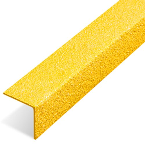Pack of 5 Stair Tread Nosing Anti-slip Heavy Duty Yellow 500mm / 750mm / 1000mm (750mm) Anglia Composites