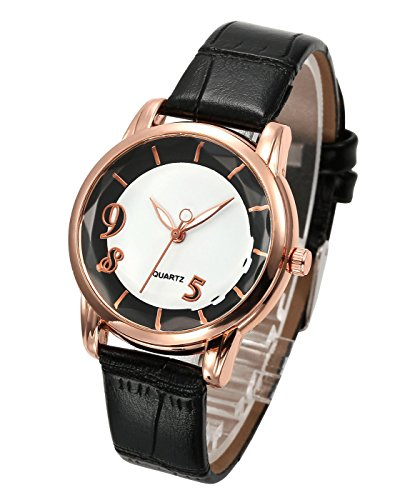 Top Plaza Classic Simple Style Number 5 8 9 Dial Bamboo PU Leather Band Dress Analog Quatz Wrist Watch Rose Golden Case Elegant Business Watches for Womens Ladies(Black)