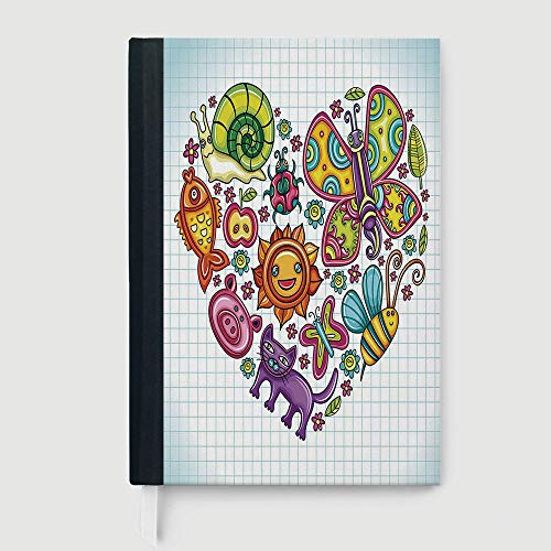- Hardcover Executive Notebook,Doodle,Case Bound Notebook,Flora and Fauna Themed Heart Animals Birds and Plants Bumblebee Ladybug Leafs Cat Decorative,96 sheets/192 pages,B5/7.99x10.02 in