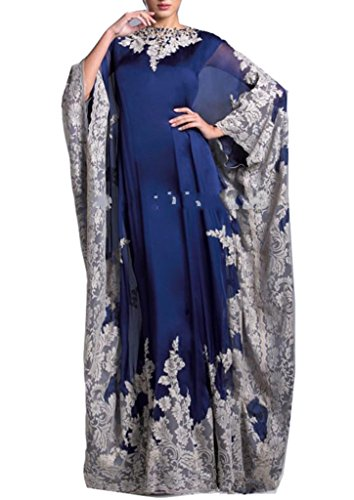 Emmani Women's Dubai Robes Muslim Arab Garb Vintage Applique Evening Dresses Blue 26w by Emmani