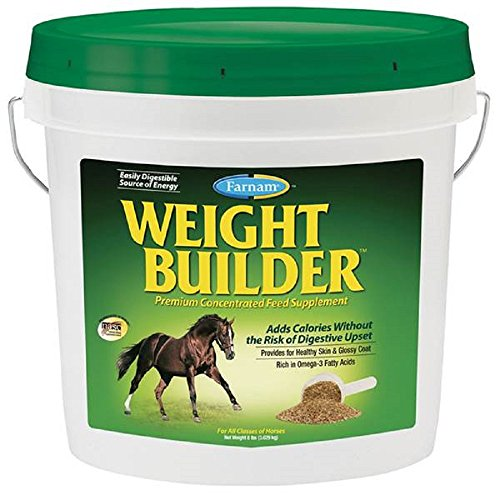 Farnam 8 Lbs Equine Weight Builder Supplement - HIgh Calorie Rich in Omega 3 (Best Muscle Building Supplements For Horses)