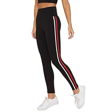 dc746c6be3 Klugger Exclusive Womens Jogger Gym Yoga Sports & Fitness Casual Side  Striped Ankle Length Leggings Tights