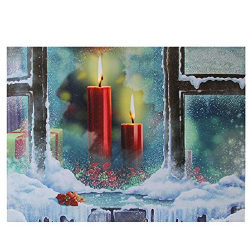 Northlight LED Lighted Snowy Window Pane and Candles Christmas Canvas Wall Art 12
