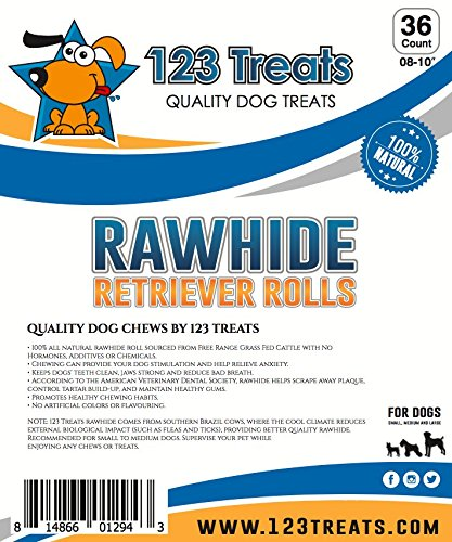 "123 Treats - Premium Rawhide Retriever Rolls For Dogs 8-9"" (36 Count) All-Natural Grass-Fed Free-Range Hand Rolled Beef Dog Bones High-Protein Healthy Chew Treats To Improve Pet Dental Hygiene by 123 Treats (Image #4)"