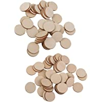 FITYLE 55Pcs 50/40mm Wood Disc Unfinished Round Cutout Blank Wooden Slices Pieces for DIY Art Craft Project and Wedding Christmas Party Embellishment
