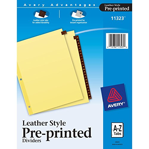 Alphabet Index Dividers - Avery Leather Pre-Printed Tab Dividers, Clear Reinforced, 8.5 x 11 Inches, A-Z Tab, Red (11323)