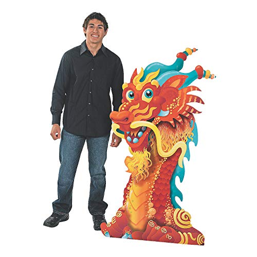 Fun Express - Dragon Head Cardboard Standup for Chinese New Year - Party Decor - Large Decor - Floor Stand Ups - Chinese New Year - 1 Piece (Year Dragon New Chinese)