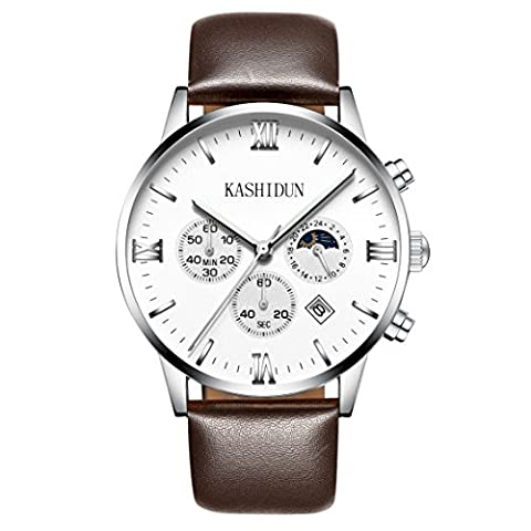 KASHIDUN.Men's Casual Watches Classic Swiss Luxury Wrist Watches 43mm Big Dial-White.ZH-YBZP (Swiss Mens Classic)