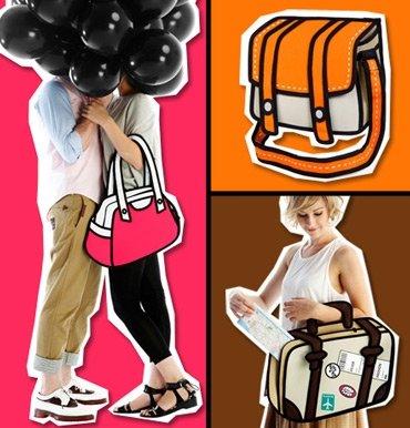 3D Bags - Borsa 2D bidimensionale Cartoon - design Borsa da LAVORO Beige