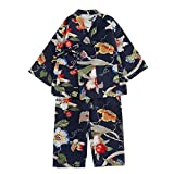 Kylin Express Japanese Style Close-Fitting,Short Sleeves Cotton Linen Kimono Pajamas Suit Dressing GownSet, B