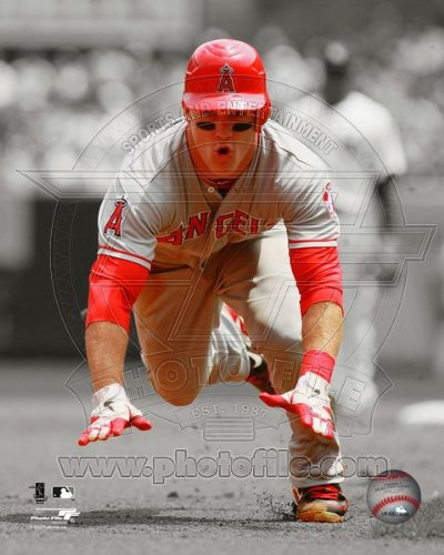 Angels Angeles Los Photograph (Mike Trout Los Angeles Angels 2012 Spotlight Action Photo 8x10)