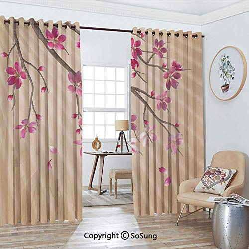 Extra Long and Wide Blackout Curtains,Spring Cherry Twig Falling Petals Sun Beams on Wooden Wall Background Illustration Thermal Insulated Premium Room Divider Large Size 2 Panel Set,108