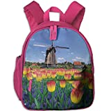 Haixia Child Boys&Girls Bookbags with Pocket Landscape Tulip Blooms with Classic Dutch Windmill Netherlands Countryside Spring Picture Yellow Blue