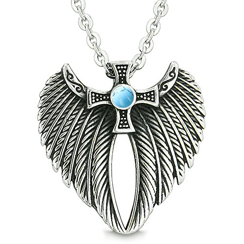 iking Cross Magic Powers Amulet Simulated Turquoise Pendant 22 inch Necklace (Angel Turquoise Pendant)
