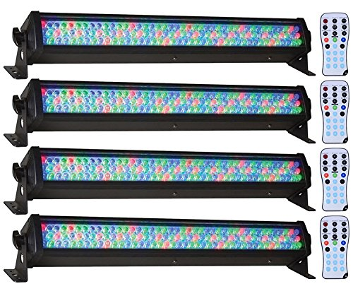 (4) American DJ Mega Bar 50RGB RC RGB LED Color Wash And Strobe Bar Effect Lights With Included RF Remote by American DJ