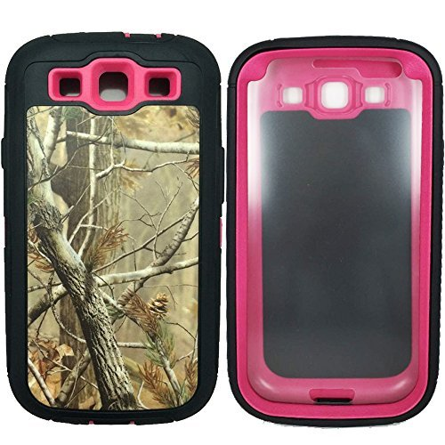 For Samsung S3 Case, Galaxy S3 Case,3 Layers Heavy Duty Defender Series Natural Realtree Camo Military Grade Shock Absorbent Scratch Impact Resistant Tough Hybrid Armor Protective Case w/ Built-in Screen Protector for Samsung Galaxy S3 i9300 (Tree Rose)