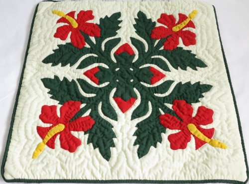 2 Hawaiian quilt throw pillow cover 16x16 100% hand quilted/