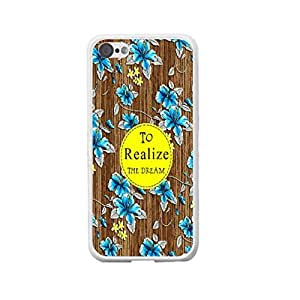 Monogram Elegant Blue Floral on Wood Pattern Print 3d Hard Plastic Protective Case Cover for Iphone 5c (white)