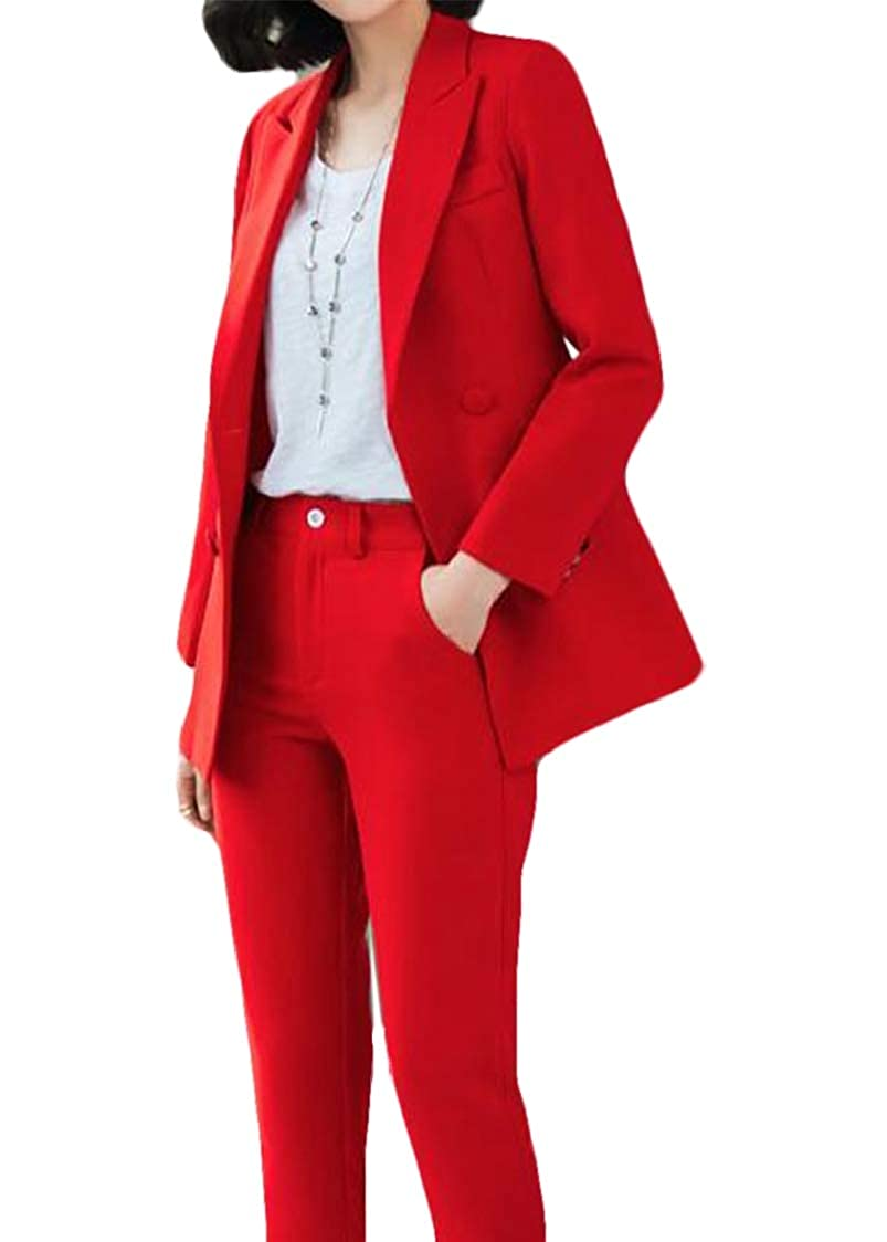 SELX Women Irregular Long Sleeve Tunic Stitch Jacket Pants Two Piece Suit Set