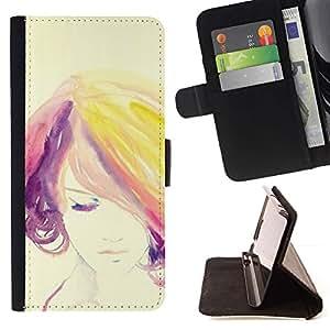 Momo Phone Case / Flip Funda de Cuero Case Cover - Woman Colorful Hair Purple - Samsung Galaxy S6 Active G890A
