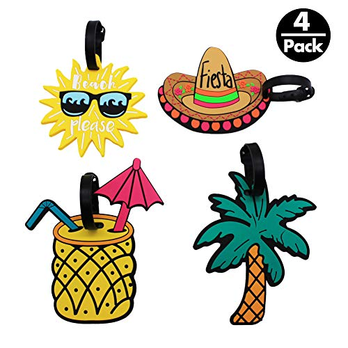 Tag Beach Luggage - Mziart Unique Luggage Tags Set of 4 Cute Summer Beach Holiday Travel Suitcase Bag Identify Baggage Label
