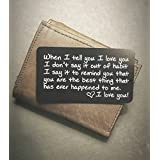 Engraved Wallet Inserts - Perfect Anniversary Gifts for Men; Surprise Him with this Engraved Handmade Mini Love Note; Anniversary Card from Wife; Anniversary Cards for Husband, Boyfriend; Deployment