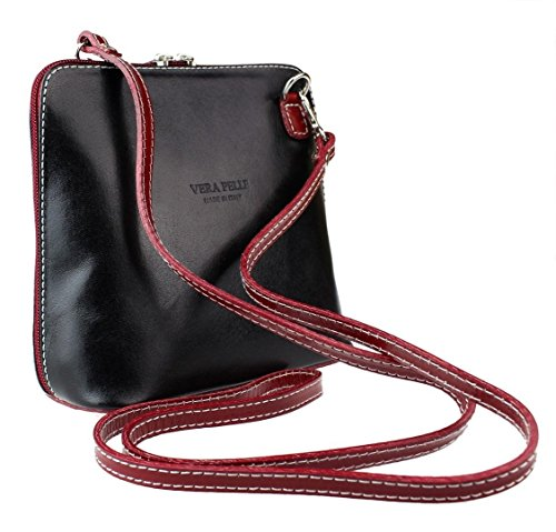 Bag Cross or Tan Italian Vera Mini Small Leather Body Genuine Pelle Handbag Black Shoulder Bag wa0xIzRB