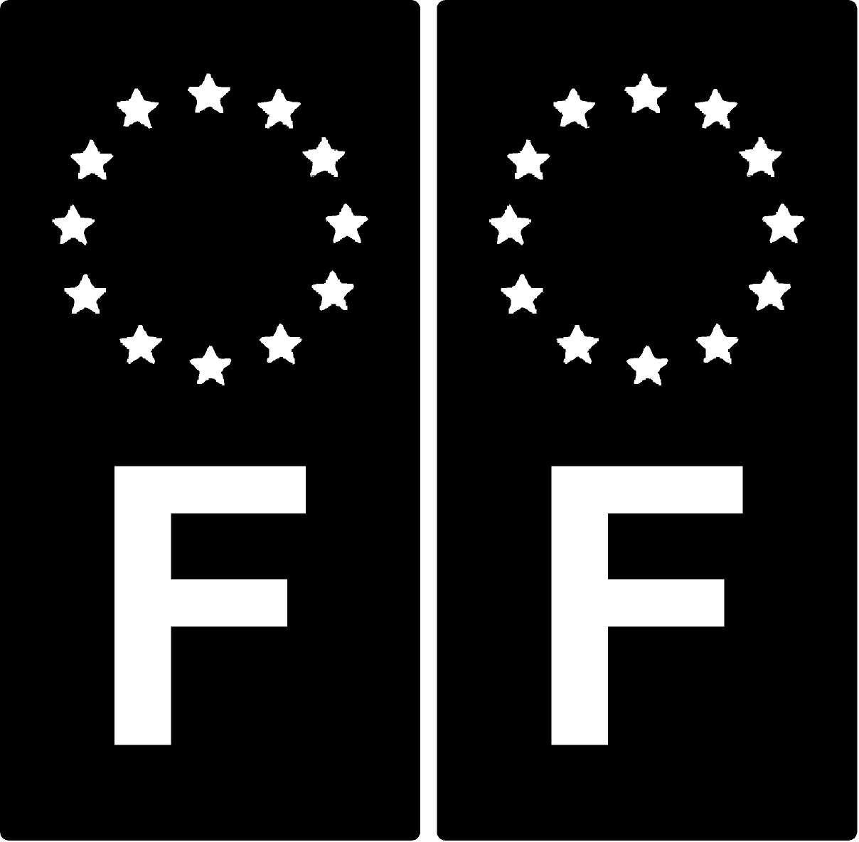 2 Stickers plaque d'immat. auto F France - Identifiant Europé en - Noir & Blanc KPCM Display