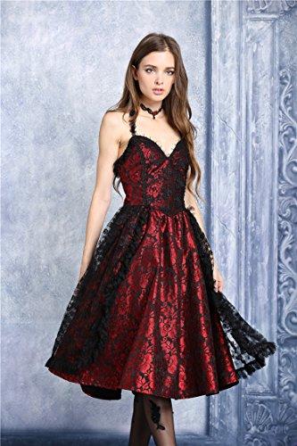 schwarze Kleid Gothic Schwarz glänzende rot Vampir Rückenfrei Viktorianischer Spitze Lolita rwYqrz5xO