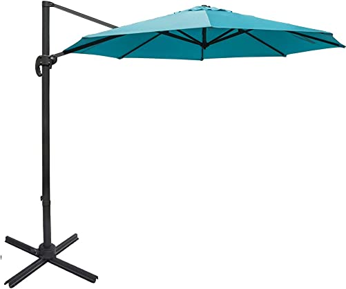 Sundale Outdoor 11 ft Offset Hanging Umbrella Market Patio Umbrella Aluminum Cantilever Pole with Cover, Crank Lift and Cross Frame, Polyester Canopy, 360 Rotation, for Garden, Deck, Backyard, Blue