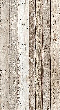 Livingwalls selbstklebendes Panel Pop up Panel Vintage Holzoptik fotorealistisch 2,50 m x 0,35 m beige braun Made in Germany