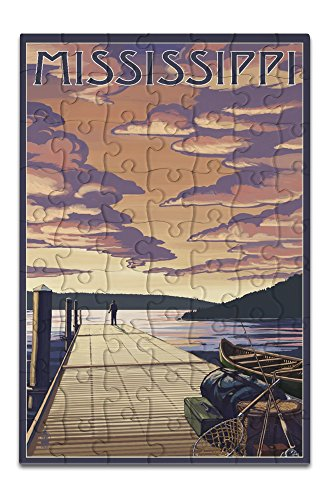 Mississippi - Dock Scene and Lake (8x12 Premium Acrylic Puzzle, 63 Pieces) -  Lantern Press, LANT-3P-AC-PZ-69022-8x12