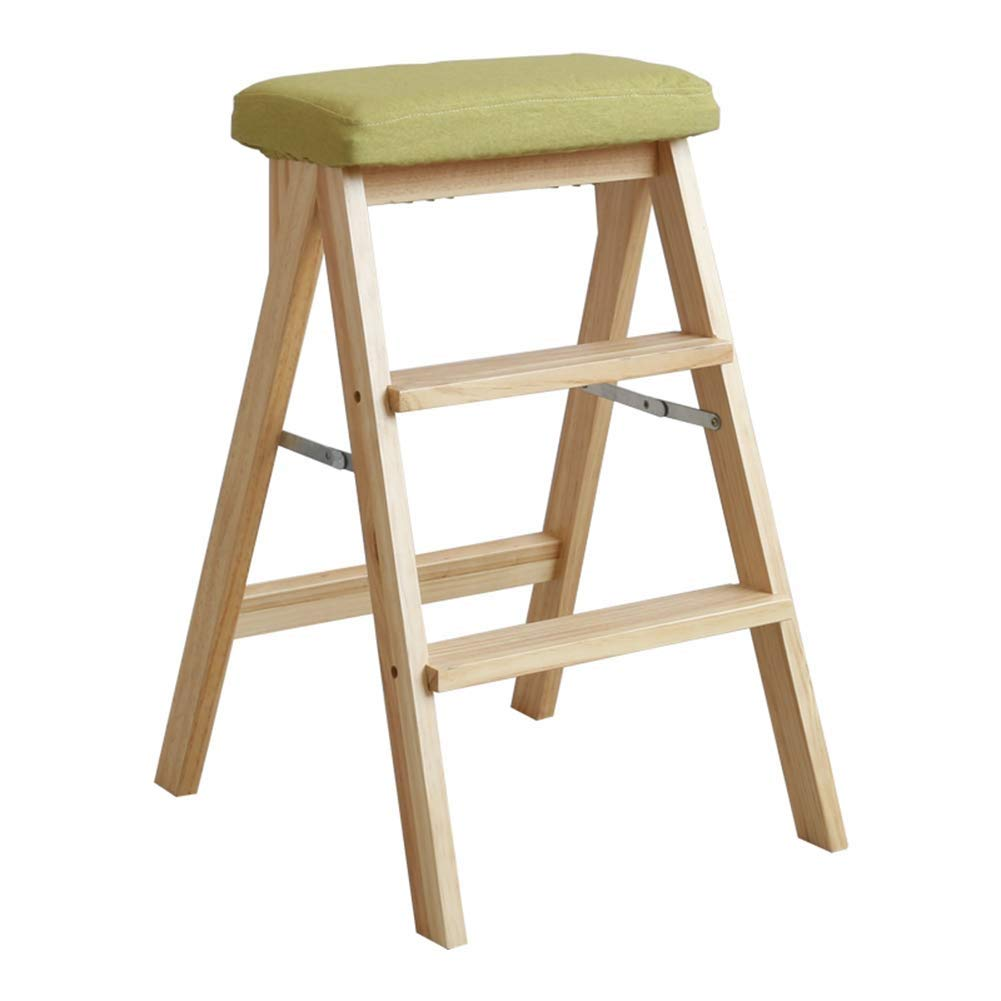 A 42x48x63cm Nevy- Ladder Stool Pine Solid Wood Foldable Safety Second Order Non-Slip Foot Pad High Stool Multifunction , 5 colors (color   A, Size   42x48x63cm)