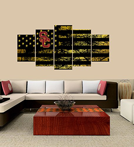 - [Small] Premium Quality Canvas Printed Wall Art Poster 5 Pieces / 5 Pannel Wall Decor USC Trojans logo Painting, Home Decor Football Sport Pictures- Stretched