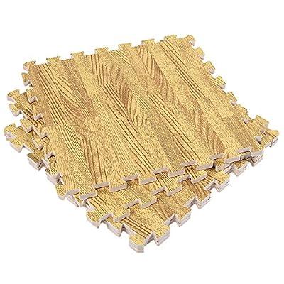 THEE Wood Grain Exercise Mat EVA Foam Interlocking Tiles Protective Flooring 4pcs