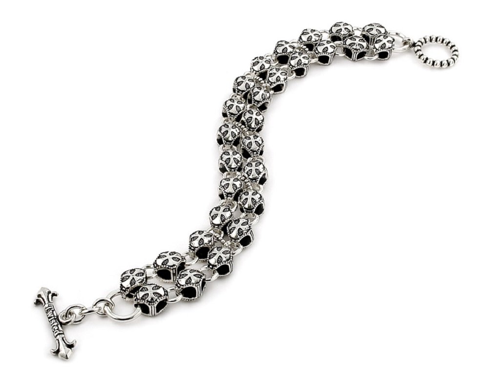 Twisted Blade 925 Sterling Silver Round Cross Double Link Bracelet 9''