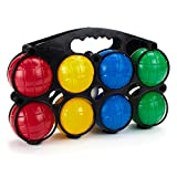 4-Player Bocce Set with Carrying Case | Set of Soft, Lightweight Plastic Balls Protect Any Surface | Kids and Adults Outdoor Portable Lawn Game Set | Picnics, Parties and Tailgating Activity