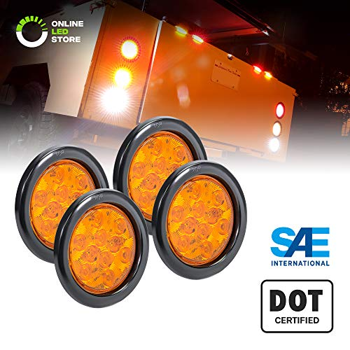 4pc 4 Round Amber LED Trailer Tail Lights [DOT Certified] [Grommet & Plug Included ] [IP67 Waterproof] Park Turn Trailer Lights for RV Jeep Trucks