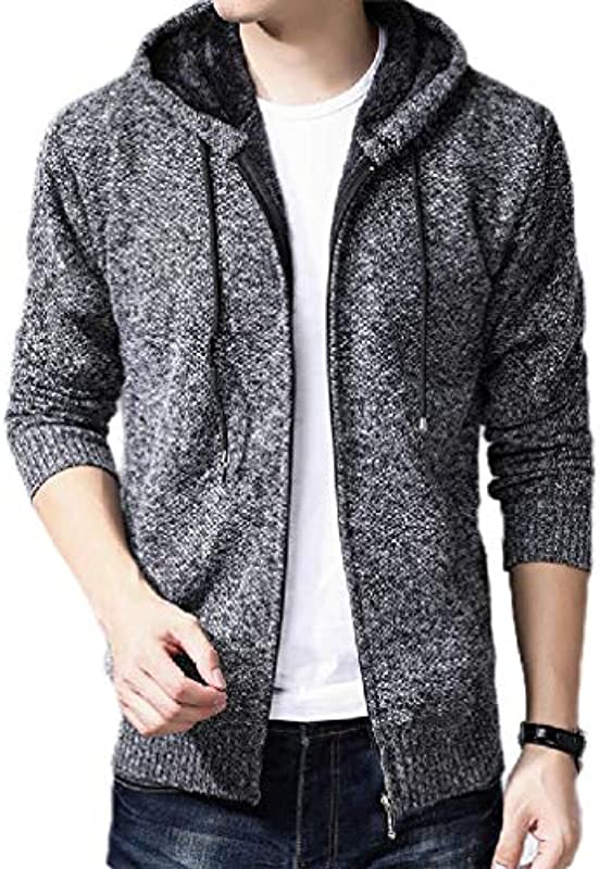 Yisism Men's Hooded Zip Front Thick Fleece Lined Solid Color Open Front Cardigan: Odzież