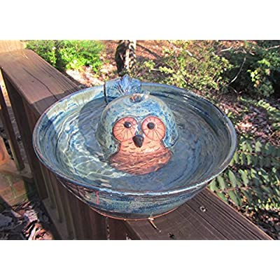 Cat Water Fountain Ceramic Cat Drinking Fountain, Indoor Pet Water Feature, Handmade Wheel Thrown Pottery, Owl Design [tag]