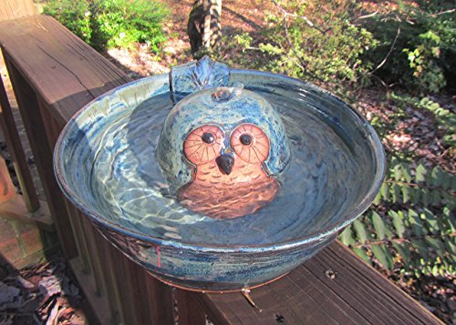 Ceramic Cat Drinking Fountain, Indoor Pet Water Feature, Handmade Wheel Thrown Pottery, Owl (Wheel Thrown Pottery)