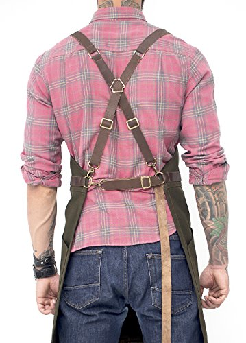 Under NY Sky Cross-Back Leather Straps Cargo Apron - Heavy-Duty Green Waxed Canvas - Split-Leg