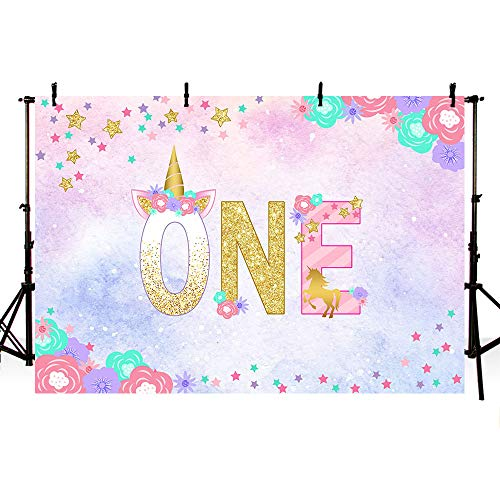MEHOFOTO Unicorn First Birthday Watercolor Photo Studio Booth Background Props Colorful Stars Floral Princess One Magical Happy 1st Birthday Party Decorations Banner Backdrops for Photography 7x5ft